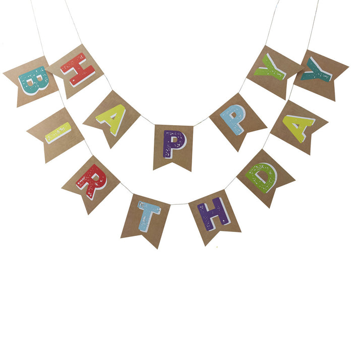 Happy Birthday Bunting from Pop Cloud Bristol who offer a huge range of partyware, wedding and event hire decorations