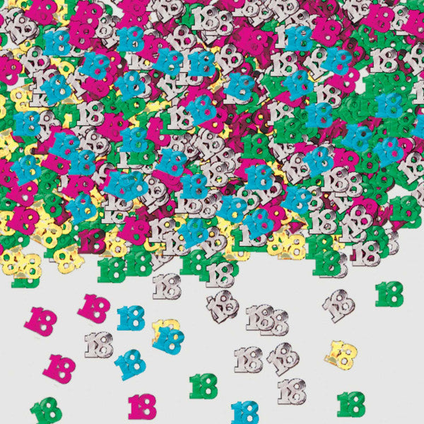 MULTICOLOURED 18 BIRTHDAY CONFETTI from Flingers Party World Bristol Harbourside who offer a huge range of fancy dress costumes and partyware items
