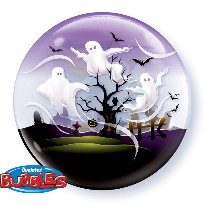 "SPOOKY GHOSTS 22"" SINGLE BUBBLE BALLOON from Flingers Party World Bristol Harbourside who offer a huge range of fancy dress costumes and partyware items"
