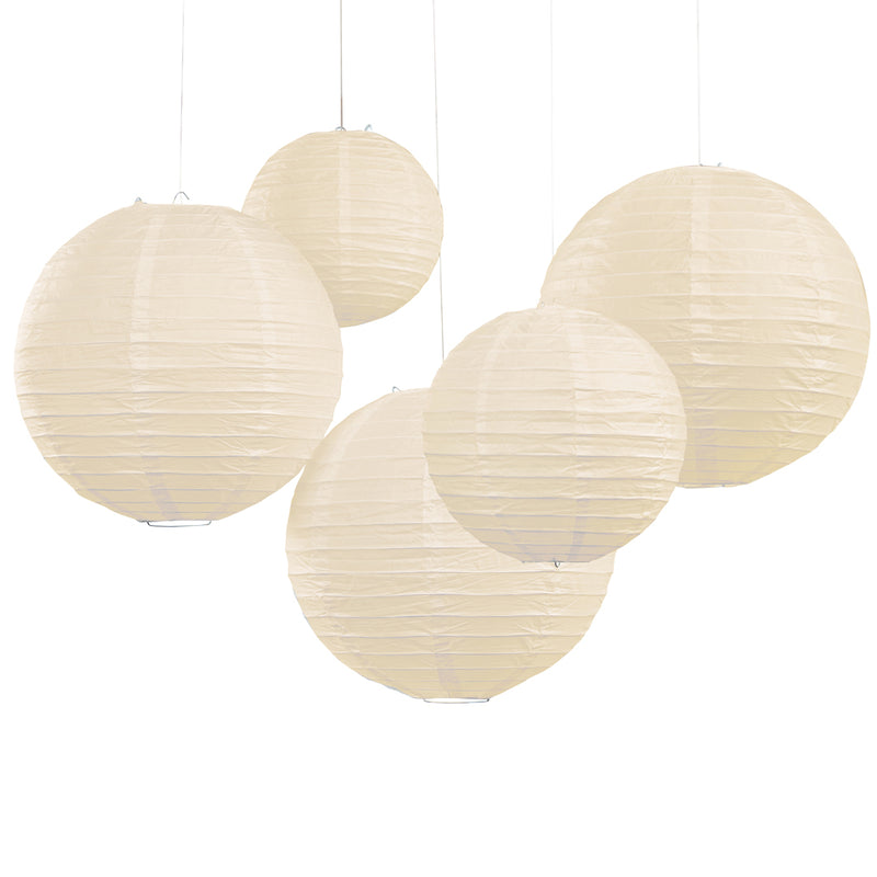 5 PRETTY IVORY PAPER LANTERNS from Flingers Party World Bristol Harbourside who offer a huge range of fancy dress costumes and partyware items