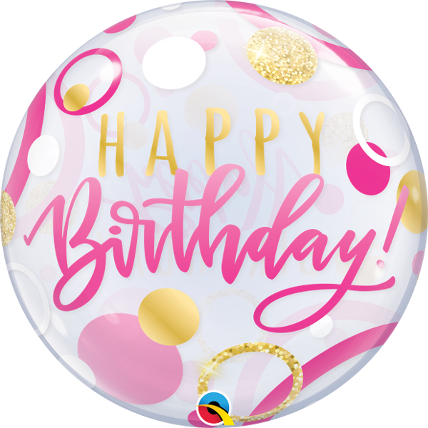 BIRTHDAY PINK & GOLD BUBBLE from Flingers Party World Bristol Harbourside who offer a huge range of fancy dress costumes and partyware items