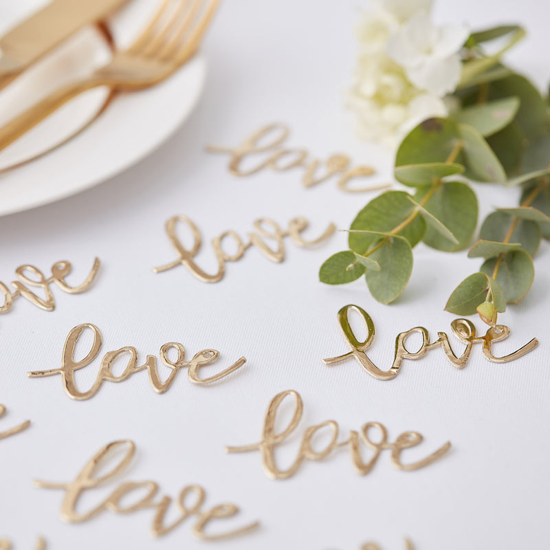 GOLD LOVE CONFETTI from Flingers Party World Bristol Harbourside who offer a huge range of fancy dress costumes and partyware items