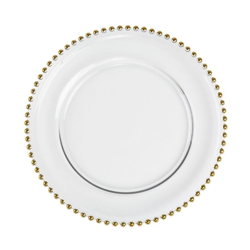 GOLD BEADED CHARGER PLATE from Flingers Party World Bristol Harbourside who offer a huge range of fancy dress costumes and partyware items