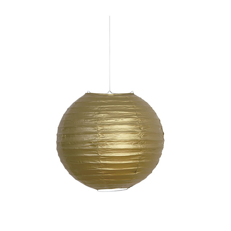 "Lantern Round 10"" Gold from Pop Cloud Bristol who offer a huge range of partyware, wedding and event hire decorations"
