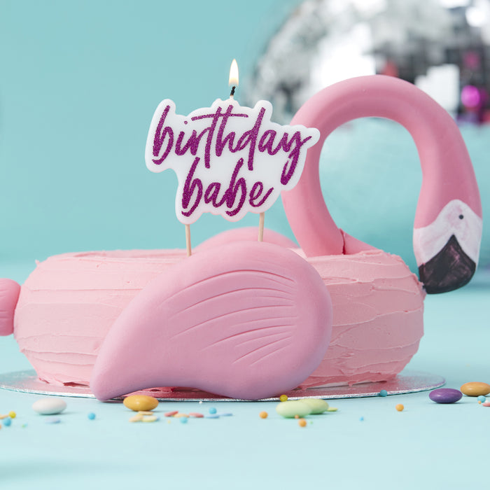 HOT PINK GLITTER 'BIRTHDAY BABE' CANDLE from Flingers Party World Bristol Harbourside who offer a huge range of fancy dress costumes and partyware items