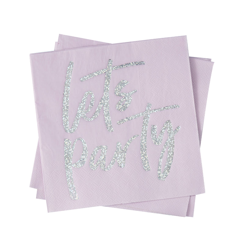 IRIDESCENT LETS PARTY NAPKINS from Flingers Party World Bristol Harbourside who offer a huge range of fancy dress costumes and partyware items
