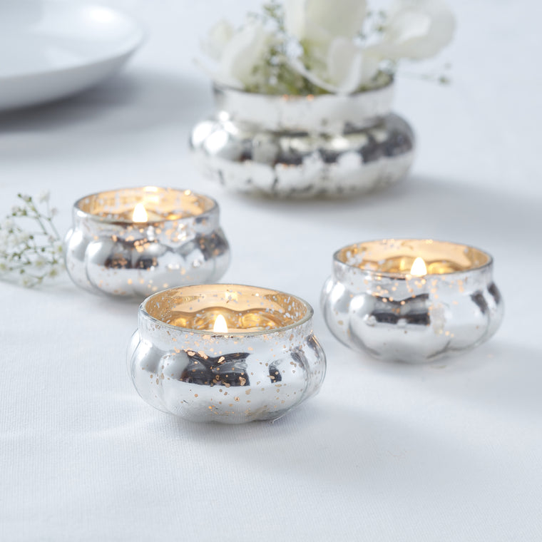 SILVER GLASS FROSTED TEA LIGHT HOLDER