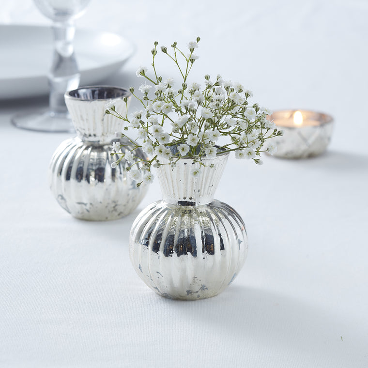 SILVER RIBBED FLOWER MERCURY VASE
