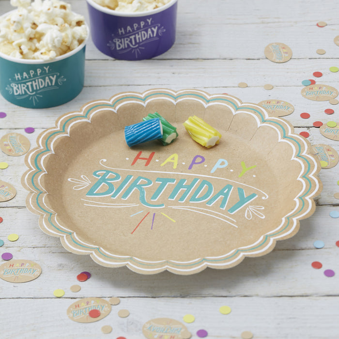 HAPPY BIRTHDAY KRAFT PAPER PLATES from Flingers Party World Bristol Harbourside who offer a huge range of fancy dress costumes and partyware items