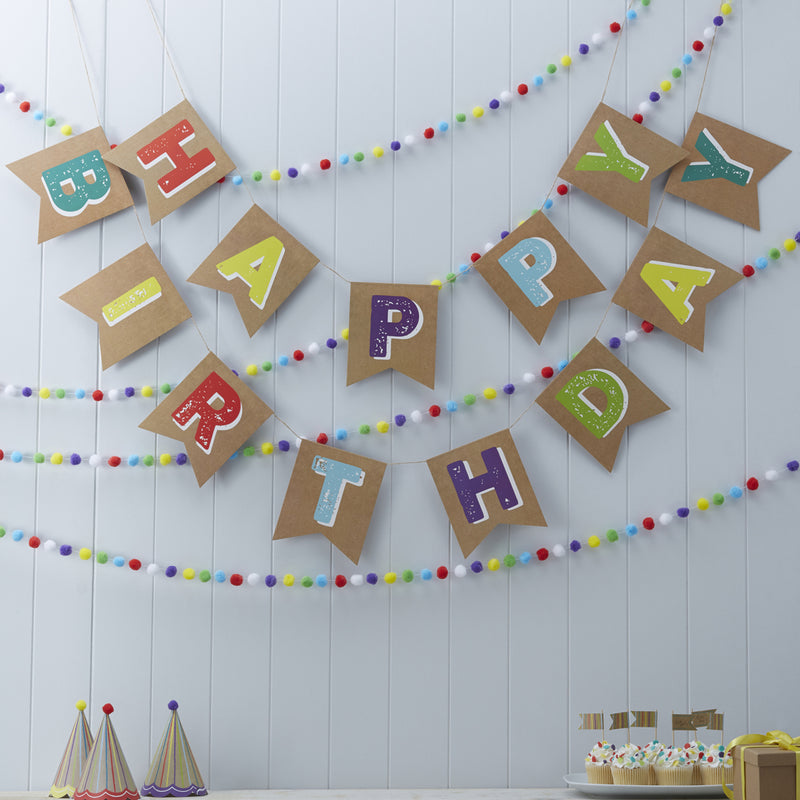 HAPPY BIRTHDAY KRAFT BUNTING from Flingers Party World Bristol Harbourside who offer a huge range of fancy dress costumes and partyware items
