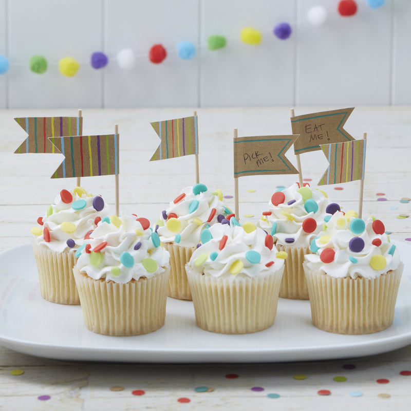 HAPPY BIRTHDAY KRAFT CUPCAKE TOPPERS from Flingers Party World Bristol Harbourside who offer a huge range of fancy dress costumes and partyware items