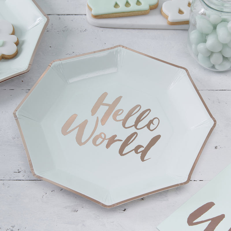 HELLO WORLD ROSE GOLD FOILED PLATES X 8 from Flingers Party World Bristol Harbourside who offer a huge range of fancy dress costumes and partyware items