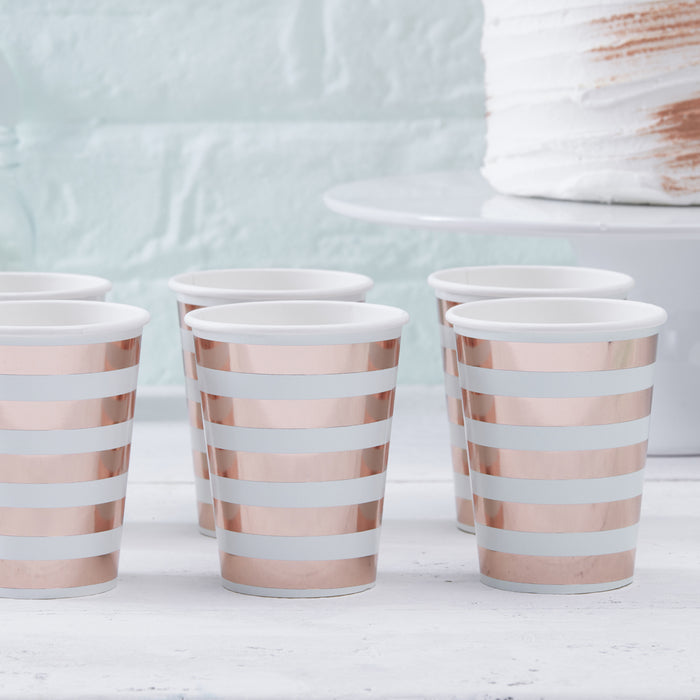 HELLO WORLD ROSE GOLD FOILED PAPER CUPS from Flingers Party World Bristol Harbourside who offer a huge range of fancy dress costumes and partyware items