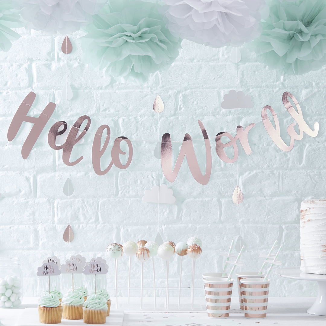 HELLO WORLD ROSE GOLD BABY SHOWER BUNTING from Flingers Party World Bristol Harbourside who offer a huge range of fancy dress costumes and partyware items