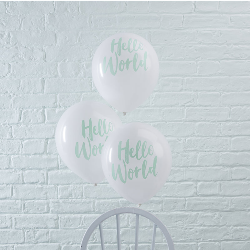 "HELLO WORLD 12"" BABY SHOWER BALLOONS X 10 from Flingers Party World Bristol Harbourside who offer a huge range of fancy dress costumes and partyware items"