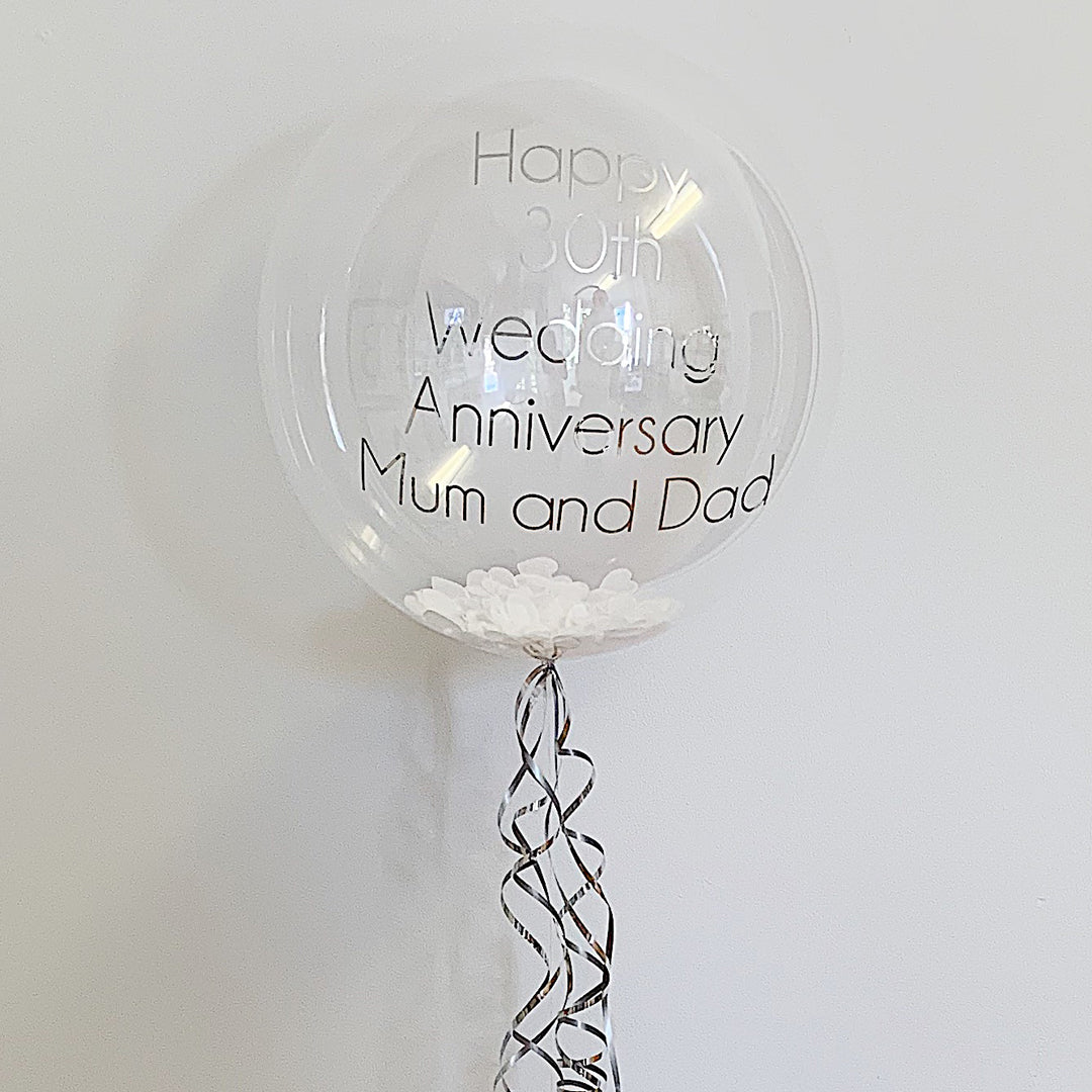 "20"" SILVER & WHITE PERSONALISED BUBBLE from Flingers Party World Bristol Harbourside who offer a huge range of fancy dress costumes and partyware items"
