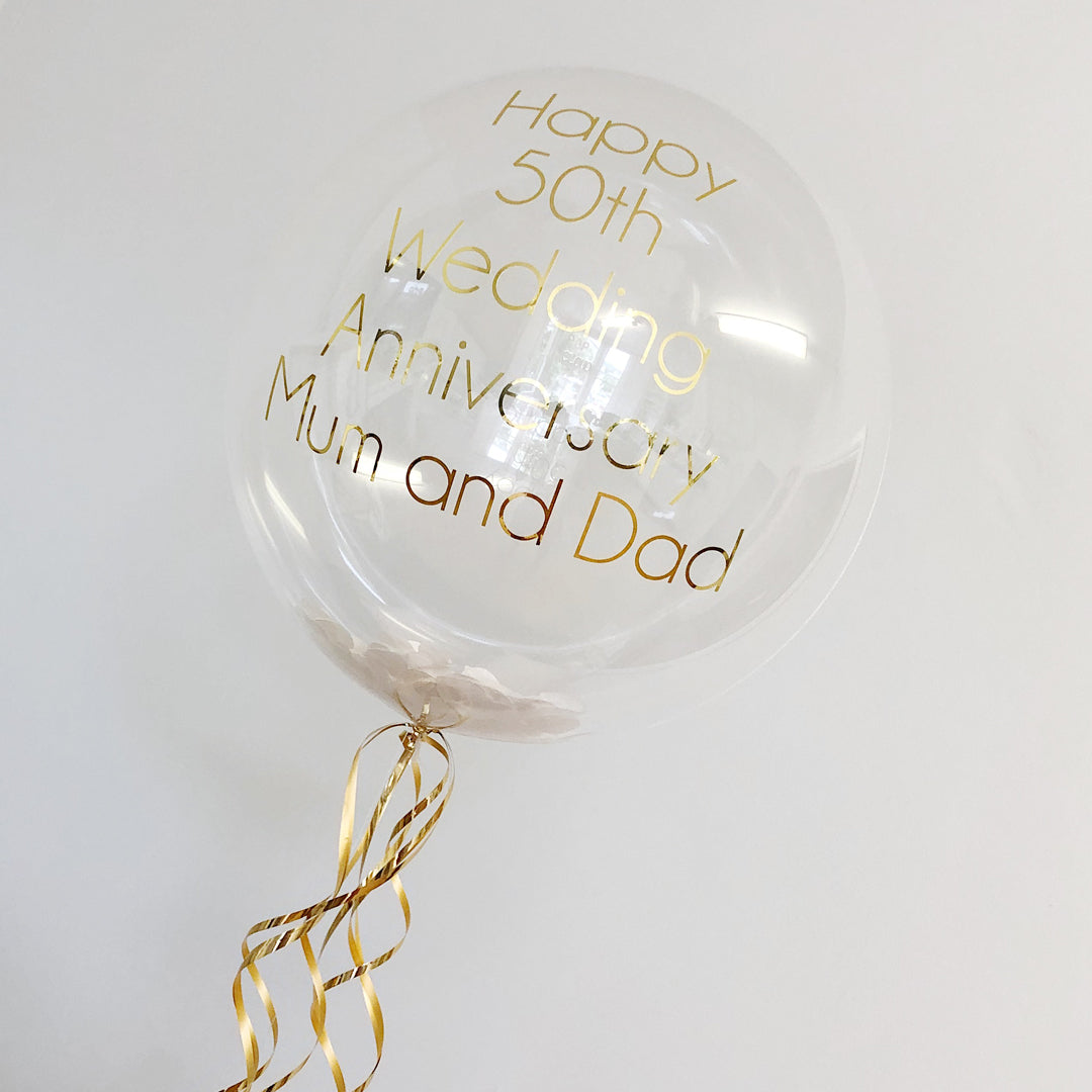 "20"" GOLD & WHITE PERSONALISED BUBBLE from Flingers Party World Bristol Harbourside who offer a huge range of fancy dress costumes and partyware items"