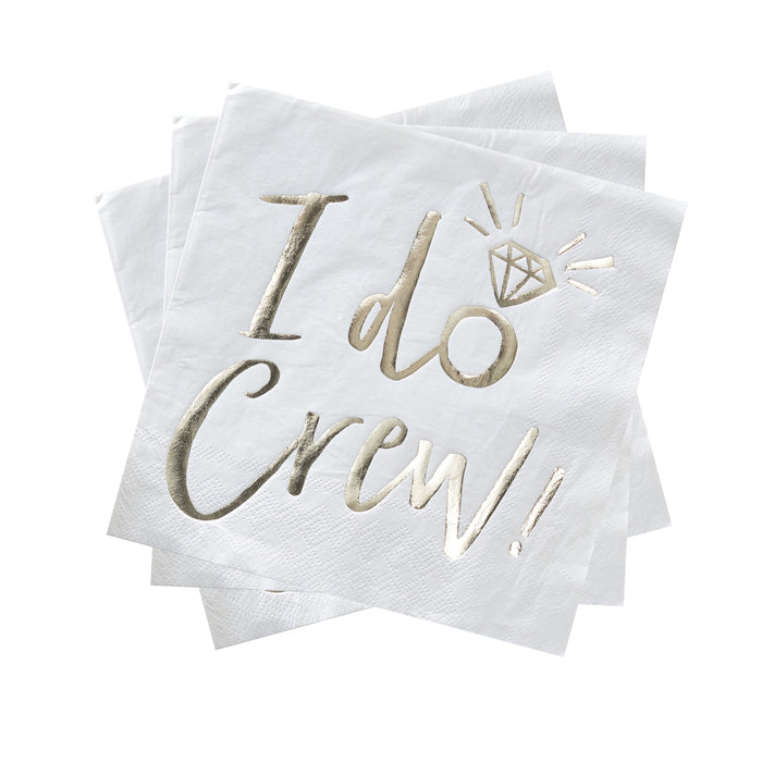 I DO CREW NAPKINS' from Pop Cloud Bristol www.popcloud.co.uk who offer a huge range of partyware, wedding and event hire decorations