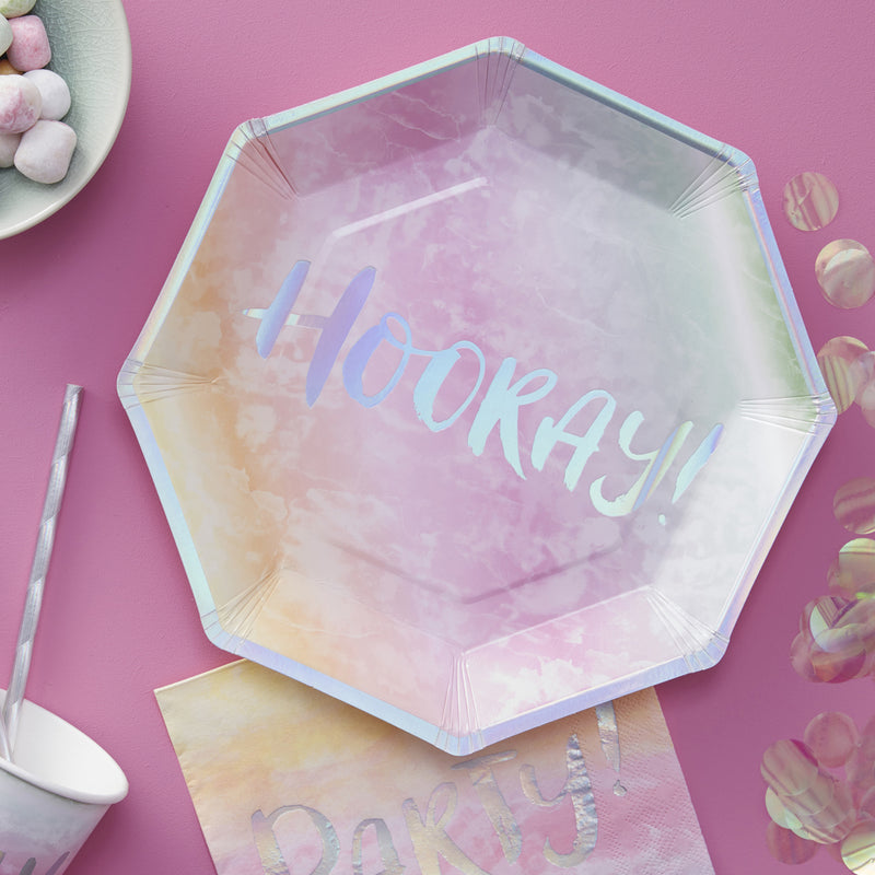 IRIDESCENT PARTY FOILED HOORAY PAPER PLATES from Flingers Party World Bristol Harbourside who offer a huge range of fancy dress costumes and partyware items