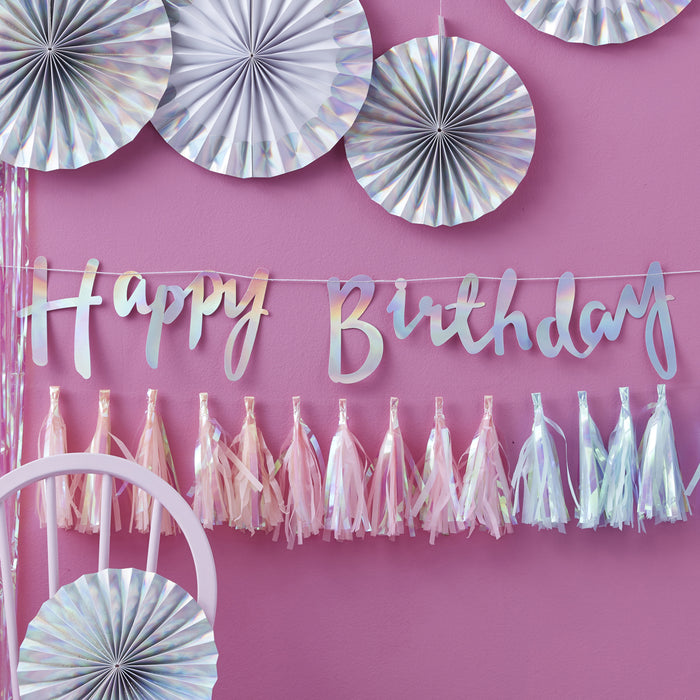 IRIDESCENT PARTY HAPPY BIRTHDAY BUNTING from Flingers Party World Bristol Harbourside who offer a huge range of fancy dress costumes and partyware items