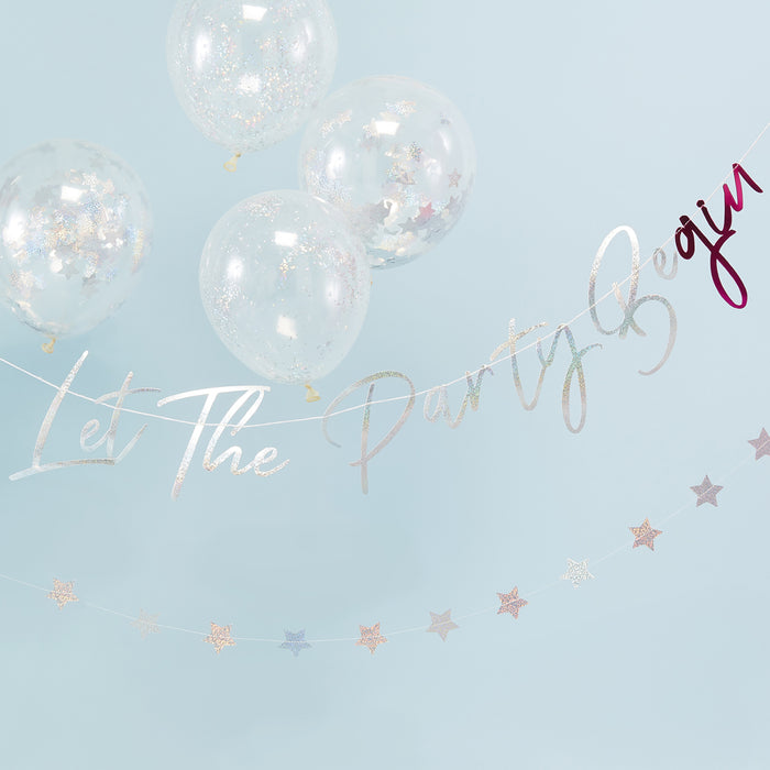 LET THE PARTY BE-GIN BUNTING from Flingers Party World Bristol Harbourside who offer a huge range of fancy dress costumes and partyware items