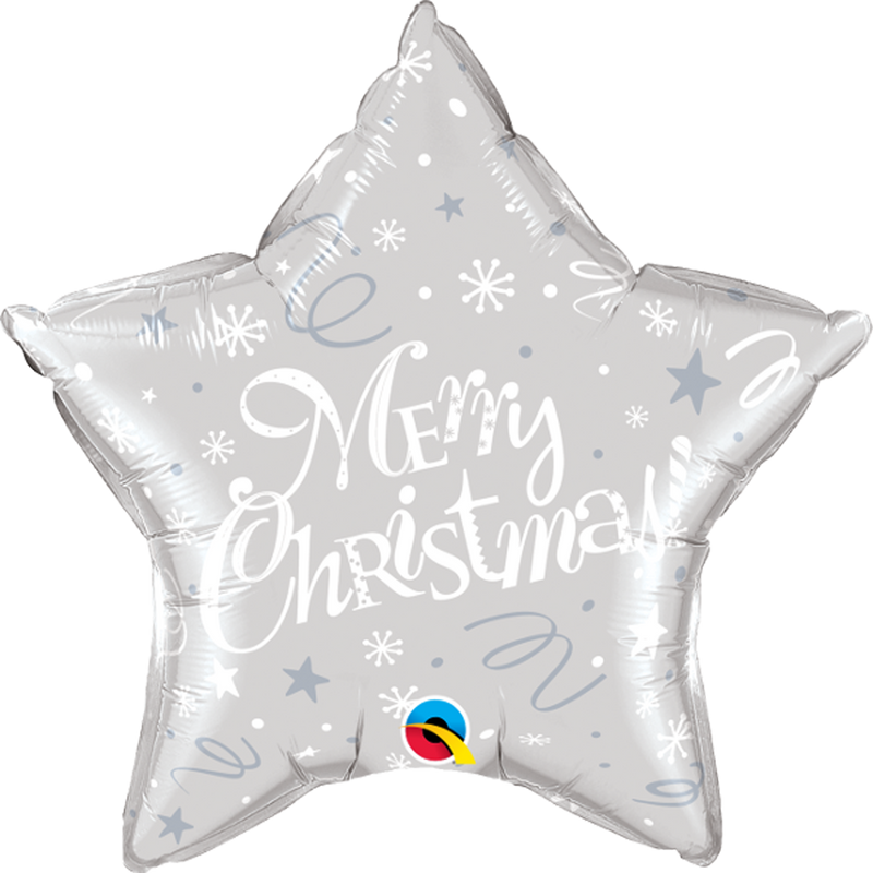 "MERRY CHRISTMAS! FESTIVE SILVER 20"" FOIL BALLOON from Flingers Party World Bristol Harbourside who offer a huge range of fancy dress costumes and partyware items"