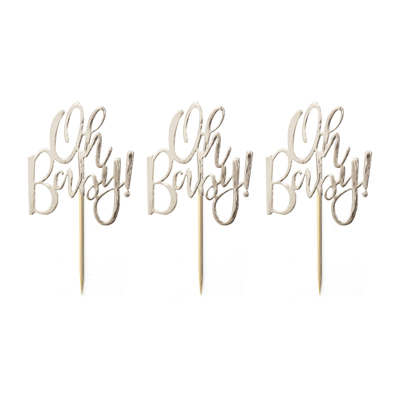 GOLD OH BABY! CUPCAKE TOPPERS from Flingers Party World Bristol Harbourside who offer a huge range of fancy dress costumes and partyware items
