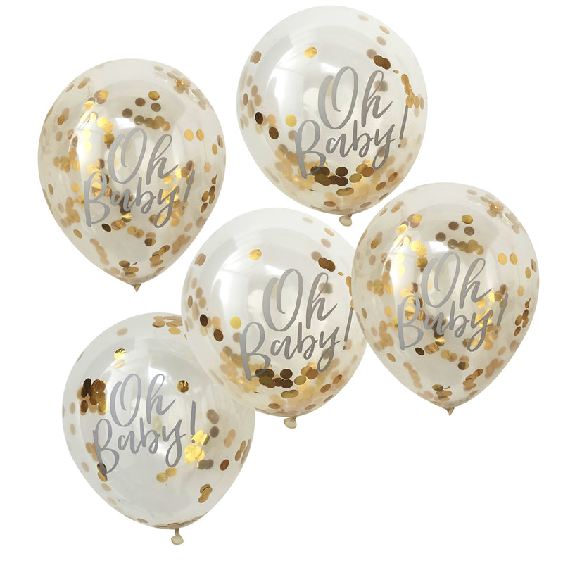 OH BABY! PRINTED GOLD CONFETTI BALLOONS from Flingers Party World Bristol Harbourside who offer a huge range of fancy dress costumes and partyware items