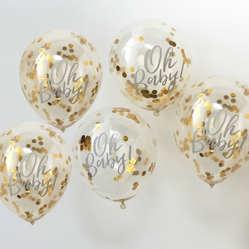 OH BABY! PRINTED GOLD CONFETTI BALLOONS' from Pop Cloud Bristol www.popcloud.co.uk who offer a huge range of partyware, wedding and event hire decorations