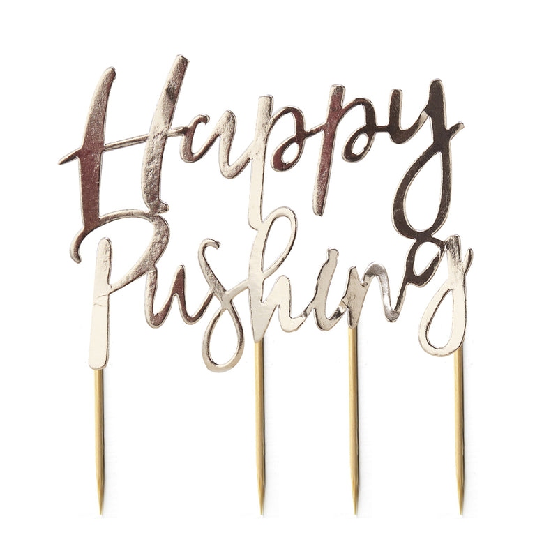 GOLD HAPPY PUSHING CAKE TOPPER from Flingers Party World Bristol Harbourside who offer a huge range of fancy dress costumes and partyware items