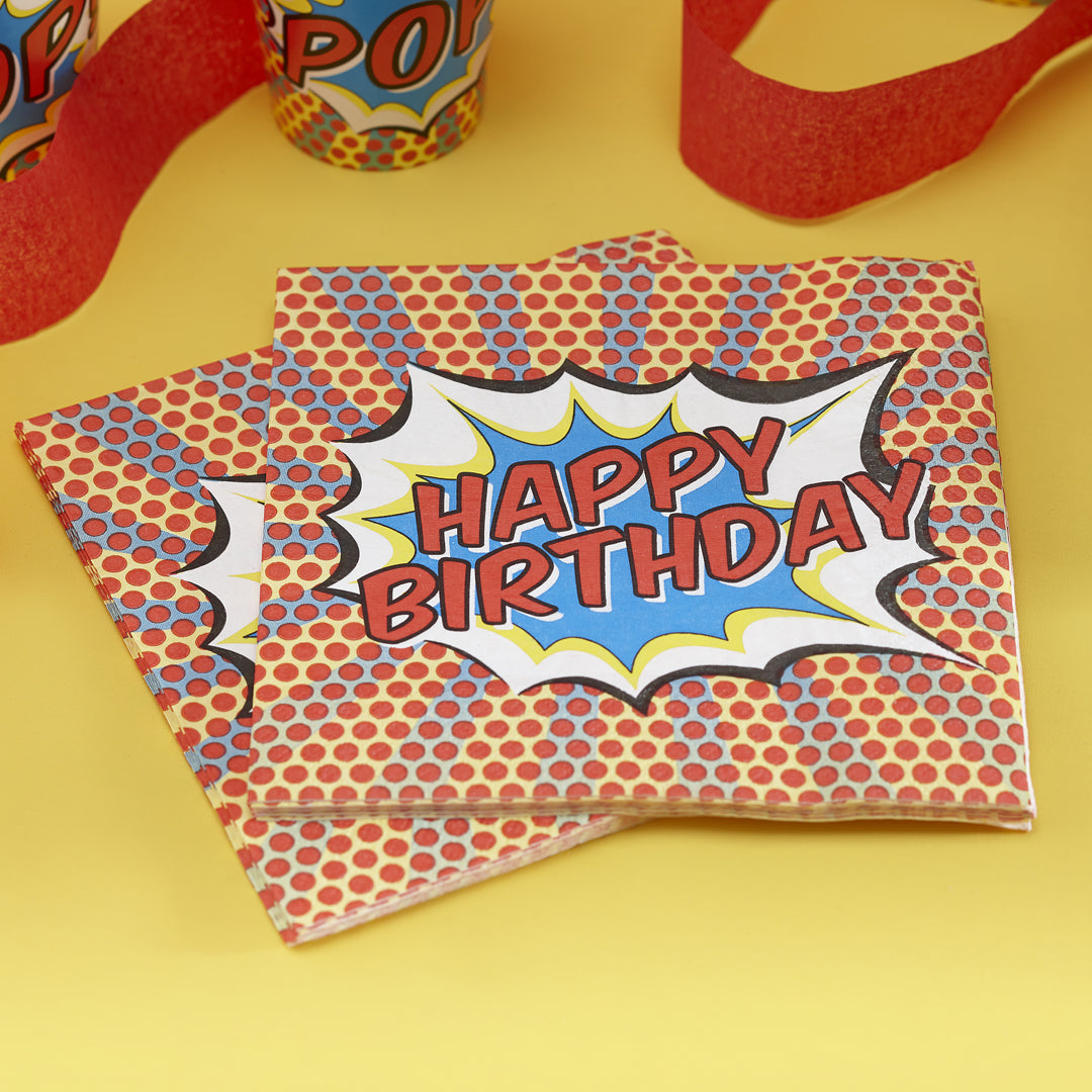POP ART PARTY HAPPY BIRTHDAY NAPKINS from Flingers Party World Bristol Harbourside who offer a huge range of fancy dress costumes and partyware items