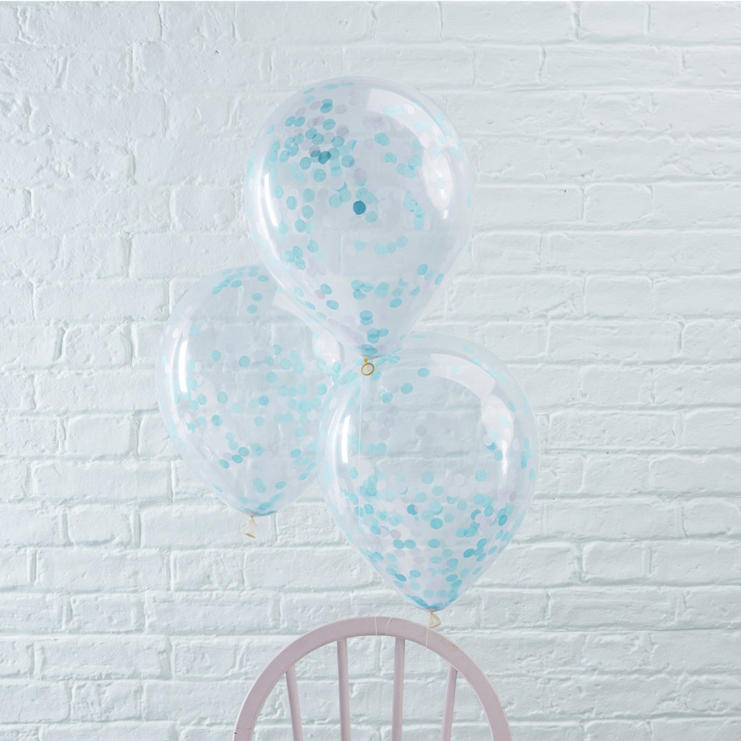 BLUE CONFETTI BALLOONS from Flingers Party World Bristol Harbourside who offer a huge range of fancy dress costumes and partyware items