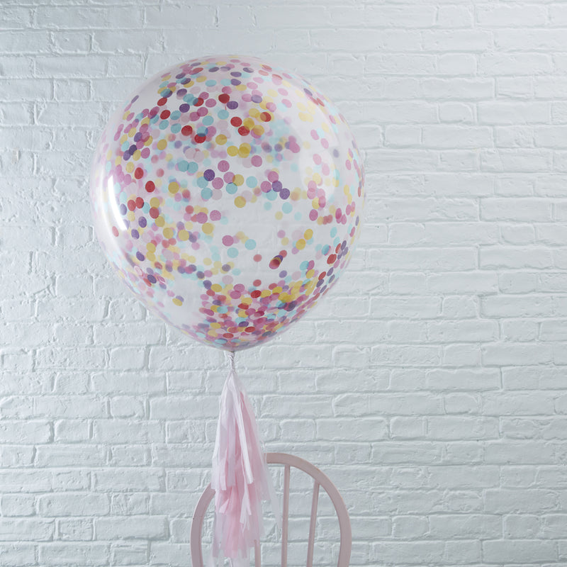 "GIANT 36"" COLOURFUL CONFETTI BALLOONS X 3 from Flingers Party World Bristol Harbourside who offer a huge range of fancy dress costumes and partyware items"