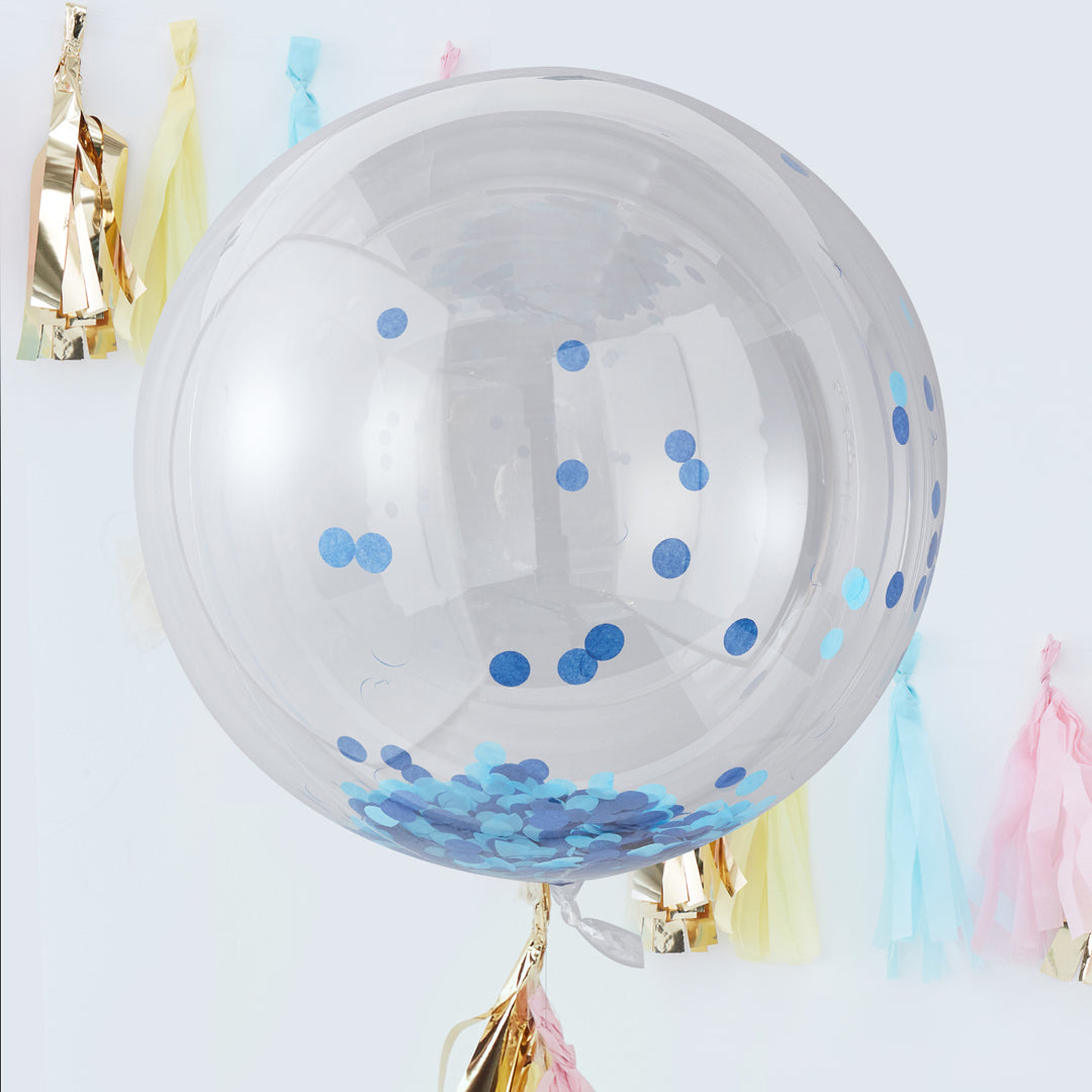 GIANT BLUE CONFETTI ORB BALLOON from Flingers Party World Bristol Harbourside who offer a huge range of fancy dress costumes and partyware items