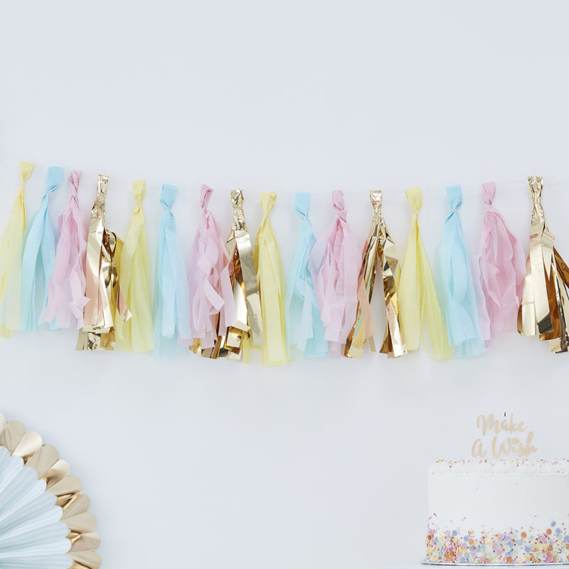 GOLD & PASTEL TASSEL GARLAND from Flingers Party World Bristol Harbourside who offer a huge range of fancy dress costumes and partyware items