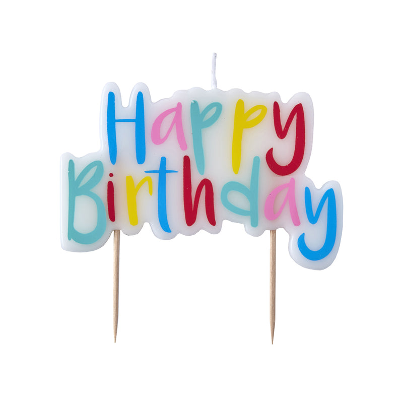 HAPPY BIRTHDAY COLOURED CANDLE from Flingers Party World Bristol Harbourside who offer a huge range of fancy dress costumes and partyware items