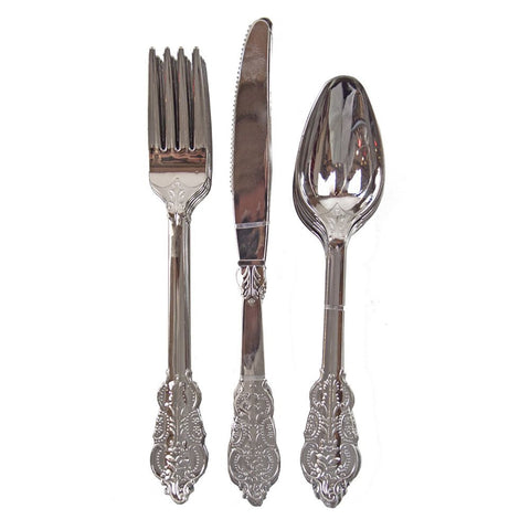 Party Porcelain Silver Plastic Cutlery from Pop Cloud Bristol who offer a huge range of partyware, wedding and event hire decorations