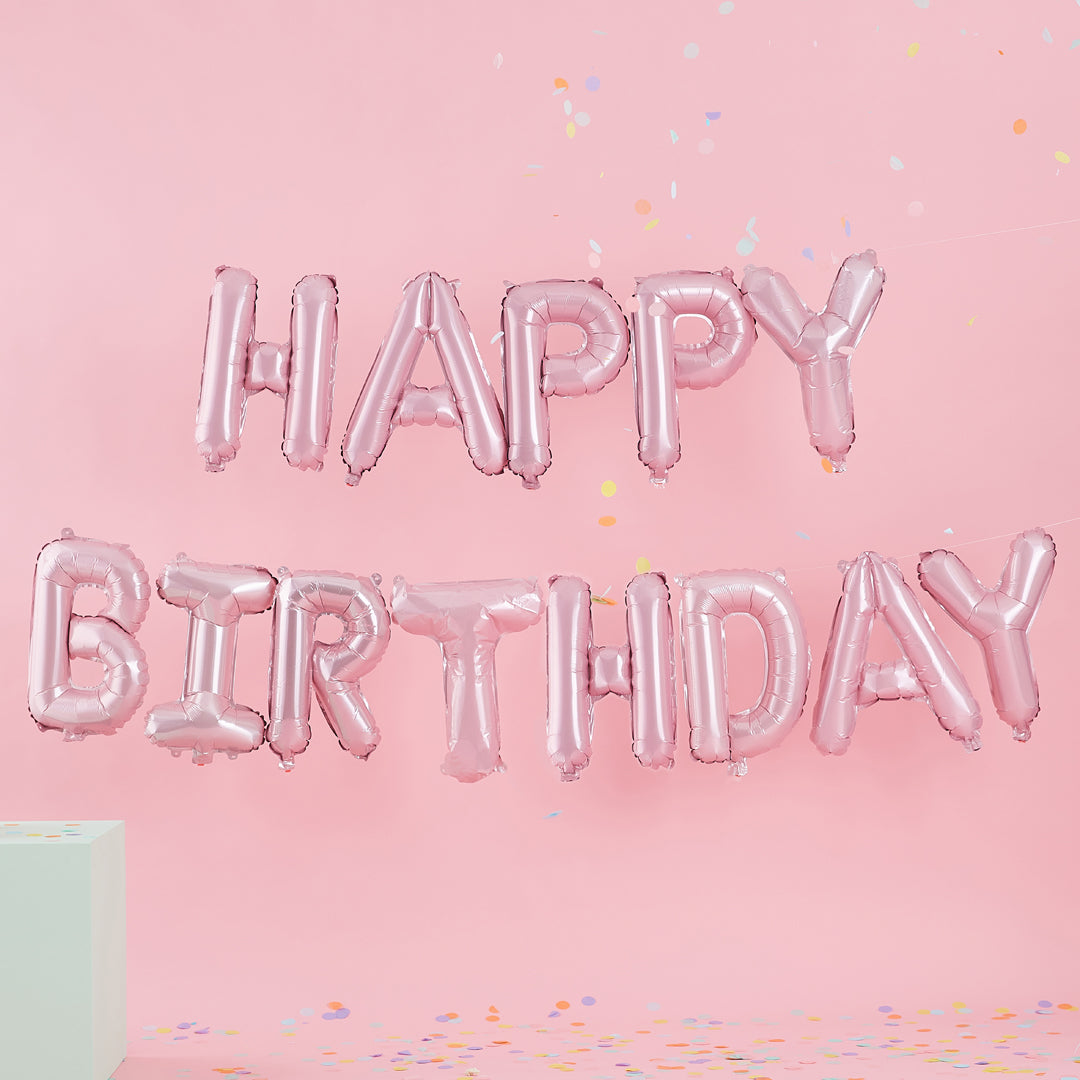 PINK HAPPY BIRTHDAY BALLOON BUNTING from Flingers Party World Bristol Harbourside who offer a huge range of fancy dress costumes and partyware items