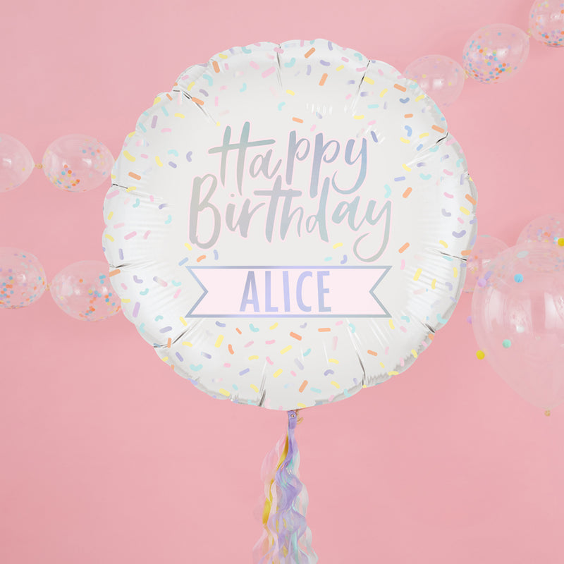 PERSONALISED IRIDESCENT HAPPY BIRTHDAY FOIL BALLOON from Flingers Party World Bristol Harbourside who offer a huge range of fancy dress costumes and partyware items