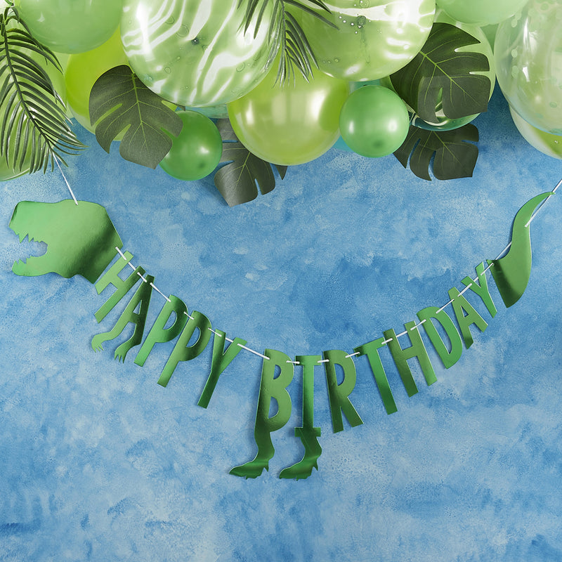 HAPPY BIRTHDAY DINOSAUR BUNTING from Flingers Party World Bristol Harbourside who offer a huge range of fancy dress costumes and partyware items