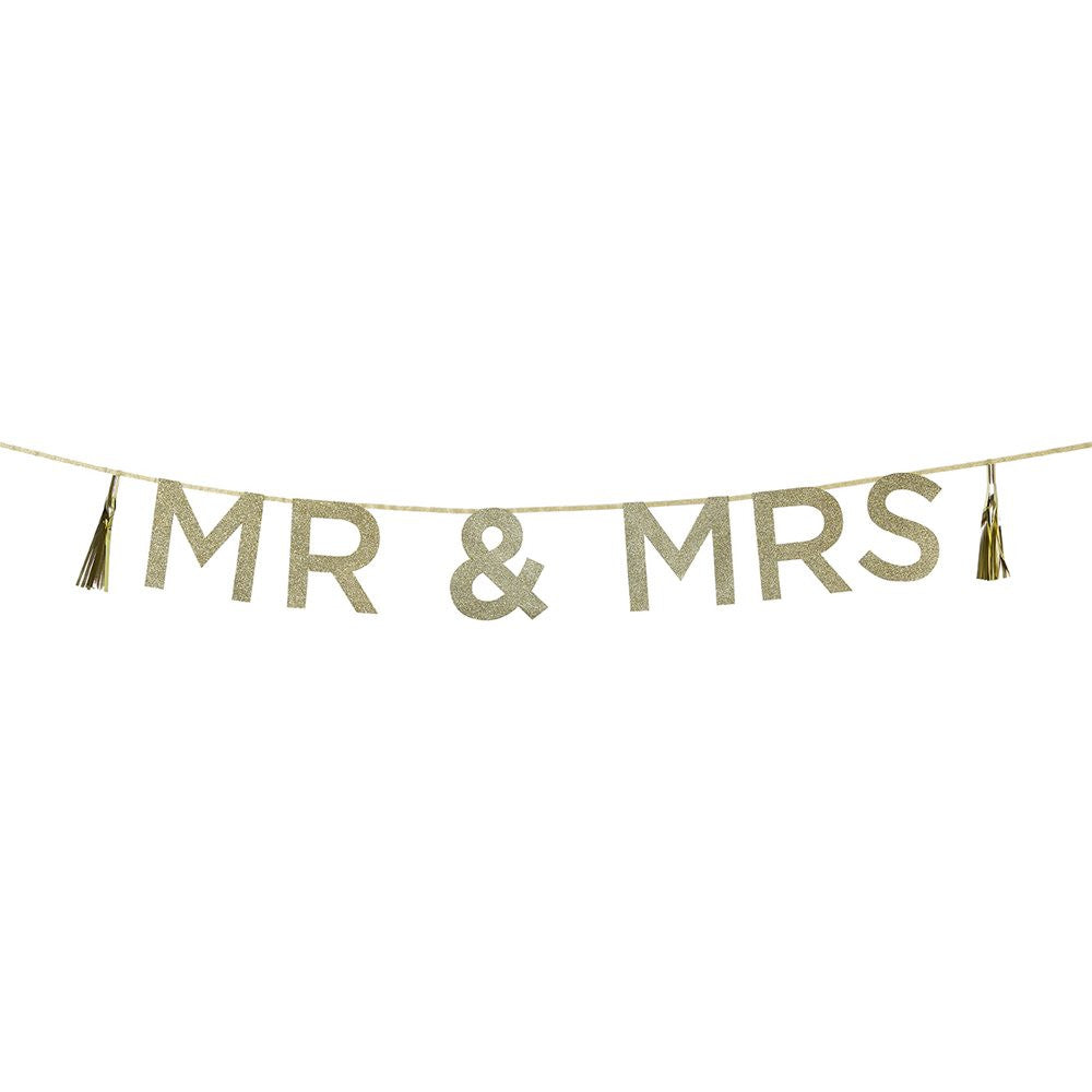 SAY IT WITH GLITTER 'MR & MRS' BANNER from Flingers Party World Bristol Harbourside who offer a huge range of fancy dress costumes and partyware items