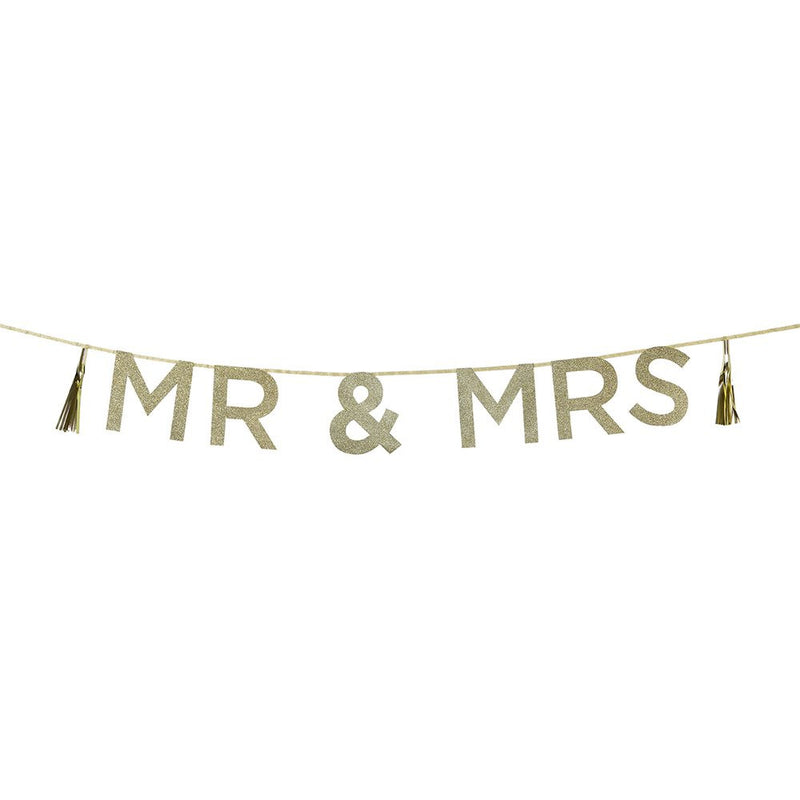 Say It With Glitter 'Mr & Mrs' Banner from Pop Cloud Bristol who offer a huge range of partyware, wedding and event hire decorations