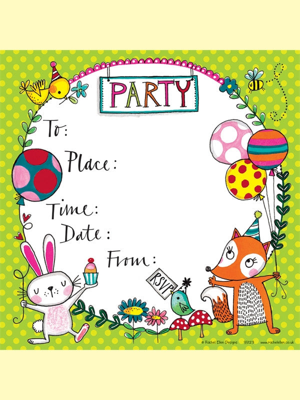 Woodland Party Invitations from Pop Cloud Bristol who offer a huge range of partyware, wedding and event hire decorations