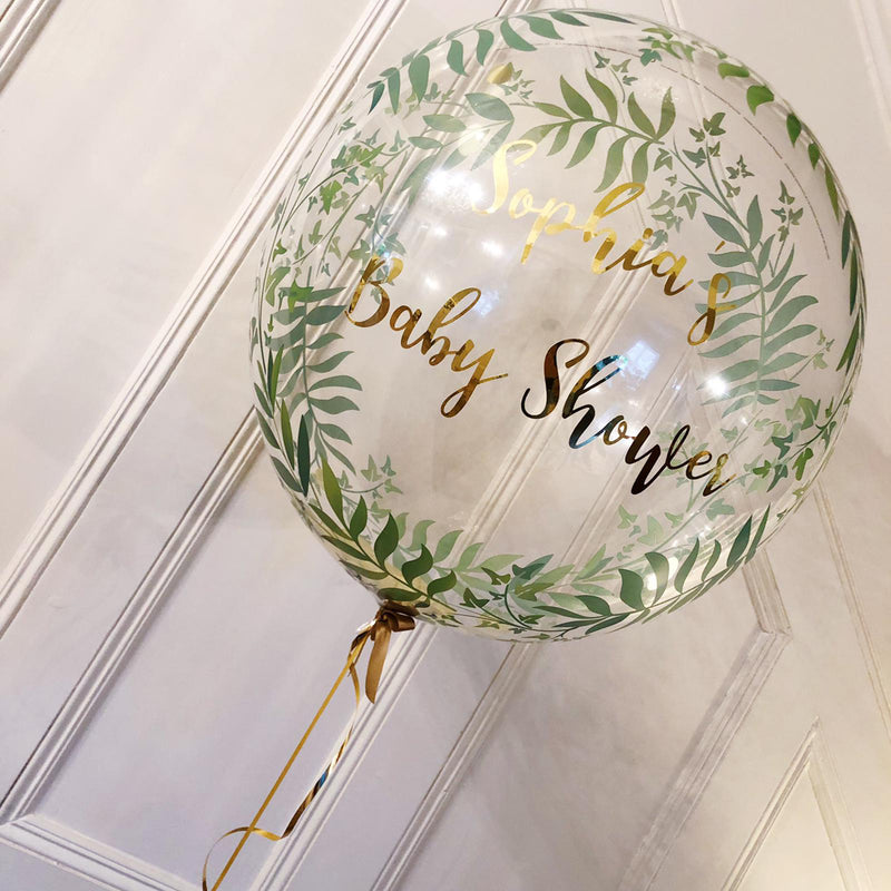 "GREEN FOLIAGE 24"" PERSONALISED BUBBLE from Flingers Party World Bristol Harbourside who offer a huge range of fancy dress costumes and partyware items"