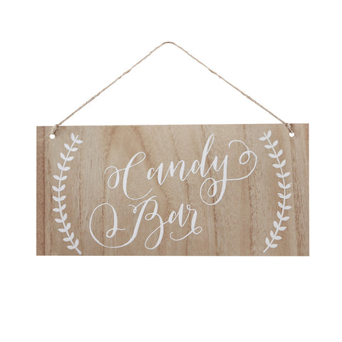 Candy Bar Wooden Sign from Pop Cloud Bristol who offer a huge range of partyware, wedding and event hire decorations