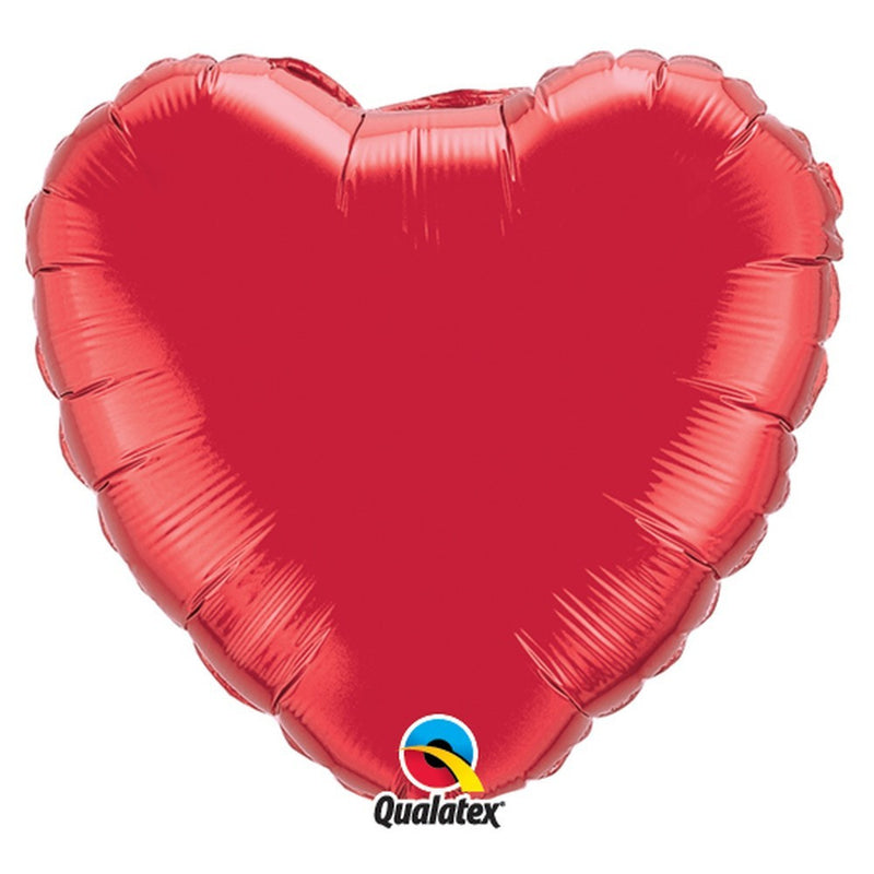 "Ruby Red Plain Foil Heart 36"" Balloon from Pop Cloud Bristol who offer a huge range of partyware, wedding and event hire decorations"