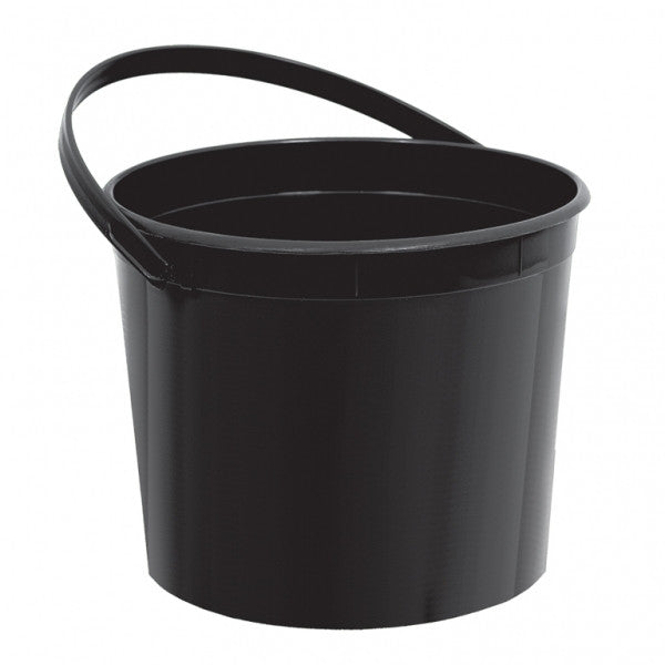 BLACK PLASTIC BUCKET WITH HANDLES from Flingers Party World Bristol Harbourside who offer a huge range of fancy dress costumes and partyware items