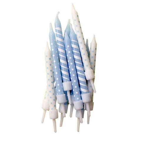 Blue Polka Dot and Candy Cane Stripe Candles 7.5cm from Pop Cloud Bristol who offer a huge range of partyware, wedding and event hire decorations