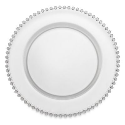 CLEAR BEADED CHARGER PLATE from Flingers Party World Bristol Harbourside who offer a huge range of fancy dress costumes and partyware items