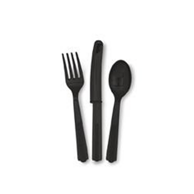 BLACK CUTLERY SET from Flingers Party World Bristol Harbourside who offer a huge range of fancy dress costumes and partyware items